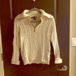Ralph Lauren half zip cable knit sweater, size S